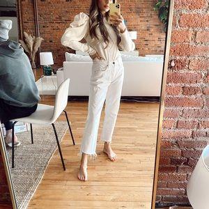 GRLFRND Mid Rise White Jeans